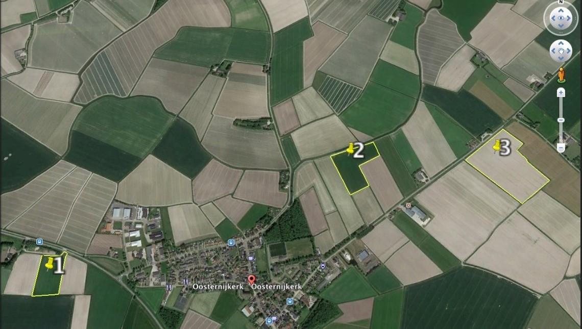 3 blokken akkerbouw in de omgeving Oosternijkerk